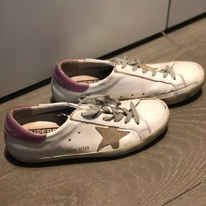 Golden Goose purple and white superstar size 10.5